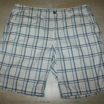 Express   Mens White Plaid Cotton Shorts Flap Pockets Size 38 Photo