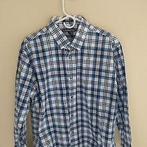 Express Mens Xl Blue White Grey Plaid Button Front Long Sleeve Shirt Photo