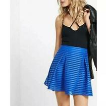 Express Mesh High Waisted Full Pleated Skirt Size 4 Cobalt Blue Mini Lined Photo
