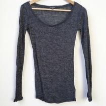 Express Metallic Black Gold Sparkle Long Sleeve Shirt Top Womens Small Photo
