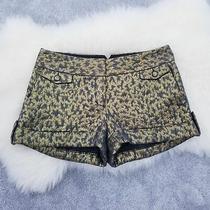 Express Metallic Gold Cuffed Shorts Size 2 Photo
