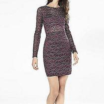 Express Metallic Lace Cut-Out Back Sheath Dress L Dark Berry Lace Nwt Photo