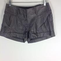 Express Metallic Shimmery Silver Rayon Pleated Cuffed Mini Dressy Shorts Sz 0 Photo