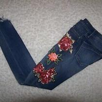 Express Mid Rise Legging Blue Denim Jeans 00r Distressed Appliques Sequins Euc Photo