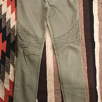 Express Mid Rise Legging Jeans Size 2 Olive Green Stitching Pattern Stretch Photo