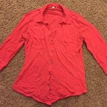 Express Misses 3/4 Sleeve Shirt Top Bright Pink Womens Photo