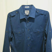 Express Mk2 Designer Blue Military Style Cotton Long Sleeve Shirt Sz