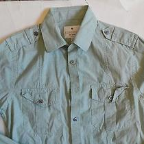 Expressmk2 Fitted Military Green Long Sleeve Dress Shirt Size Xs 13-13 1/2  Photo