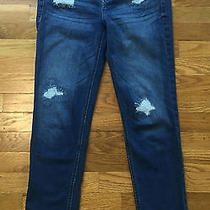 Express Modern Boyfriend Cropped Relaxed Distressed Jeans Women's Size 0  Photo