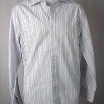 Express Modern Fit Casual Shirt White Striped Long Sleeve M Modern Fit  Photo