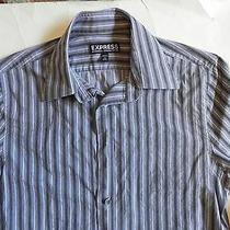 Expressmodern Fit Gray Black Stripes Long Sleeve Dress Shirt Size Xs 13-13 1/2  Photo