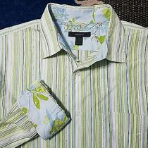 Express Modern Fit Long Sleeve Contrasting Flip Cuffs Size Large Cotton Green Photo