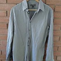 Express Modern Fit Stretch Cotton Long Sleeve Button Shirt Mens Size L Gray Photo