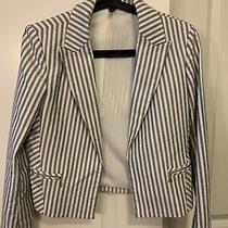 Express Navy and White Striped Suit Jacket Size 4 Photo
