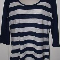 Express Navy Blue and White Striped Jersey Top Tee L Large Photo