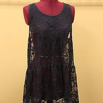 Express Navy Blue Mesh Lace Dress Size L Photo