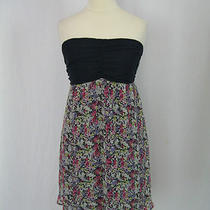 Express Navy Blue Multicolor Floral Print Tube Dress Xs 0-2 Photo