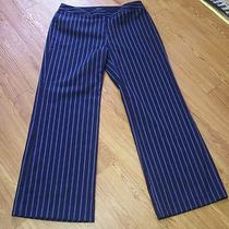 Express Navy Blue Pin Stripe Dress Pants 13 14 Stretch Photo