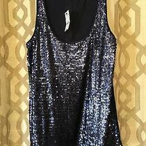 Express Navy Blue Sequined Tank Top Women's Large Nwt Photo