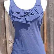 Express-Navy Blue Tank Topruffle Frontcotton Stretchm Photo