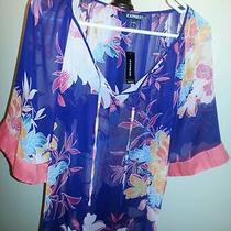 Express Navy Floral Blouse Size Small Nwt Photo