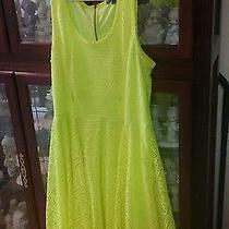 Express Neon Yellow Lace Dress Size Large Photo