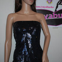 Express New Blue Black Sequin Stretch Tube Top W/shelf Bra Xs  Photo