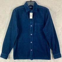 Express Nwt Men's Xs Slim Solid Stretch Corduroy Shirt Navy Blue Photo