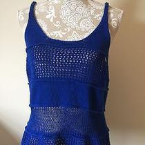 Express Nwt Woman's Medium Blue Crochet Tank Top Photo