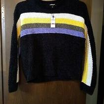 Express Nwt Womens Black W/white/yellow/green/purple Sweater Size Xslongsleeve Photo