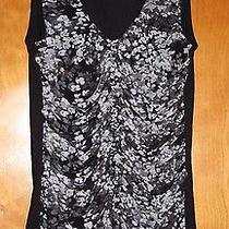 Express Nylon Floral Print Front Tank Top With Ruching Solid Plain Back Size Xs Photo
