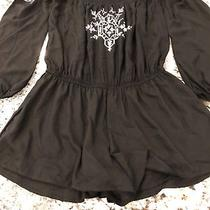 Express Off Shoulder Black Romper With Embroidery Size Xs Photo