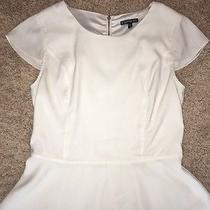 Express Off White Cream Silky Zip Back Peplum Top Shirt Med Short Sleeve M Photo