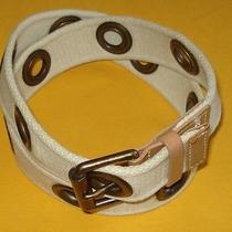 Express Off White/ivory Made in u.s.a. Cotton With Leather Tabs Belt Size M. Photo