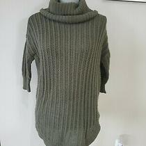 Express Olive Green Knitted Turtle Neck Elbow Length Sleeve Sweater Sz Xs Curved Photo