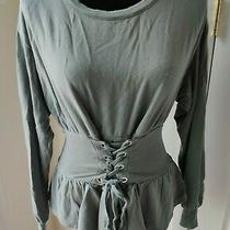 Express One Eleven Long Sleeve Lace Up Corset Pullover Sweater Shirt Small  Photo