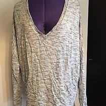 Express One Eleven Plush Deep v Sweater Pull Over Gray Heather Kangaroo Pocket M Photo