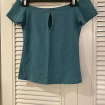 Express One Eleven Preowned  Teal Blue Keyhole  Crop Shirt Size S Photo