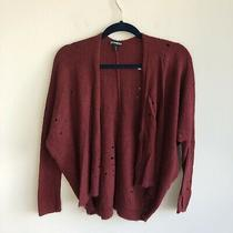 Express One Eleven Women's Size Xs Red Distressed Open Front Cardigan Sweater Photo