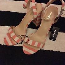 Express Orange and White Striped Chunky Heel Sandals W8 Photo