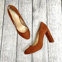 Express Orange Brown Suede Tissu Heels Size 9 Photo