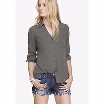 Express Original Fit Convertible Sleeve Portofino Olive Green Shirt Sz Xs Z297 Photo