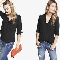 Express Original Fit Convertible Sleeve Portofino Shirt in Black Sz M  H339 Photo