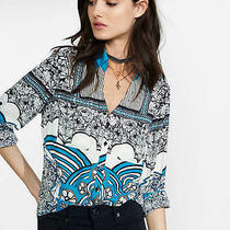 Express Original Fit Placed Geo Floral Portofino Shirt Size Small Photo