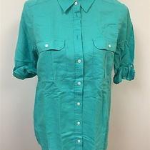 Express Original New Women's Sz M Aqua Blue Half Sleeve Button Down Shirt Nwt Photo