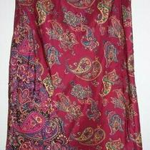 Express Paisley Print Silk Skirt Womens M Cheetah Print Ruffle Hemline  Photo