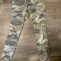 Express Pants Size 4 Green Camo Distressed Print Mid Rise Ankle Legging Raw Hems Photo