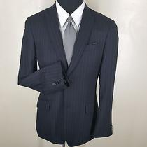 Express Peaked Lapel Sport Coat Charcoal Gray Stripe 2 Button Side Vents 38reg. Photo
