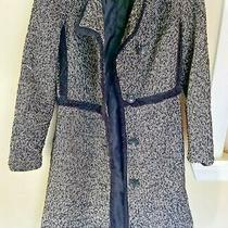 Express Petite Xs Black White Wool Cotton Blend Tweed Trench Coat Photo
