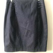 Express Pin Stripe Pencil Skirt Size 8 Navy Blue Lined Preowned Photo